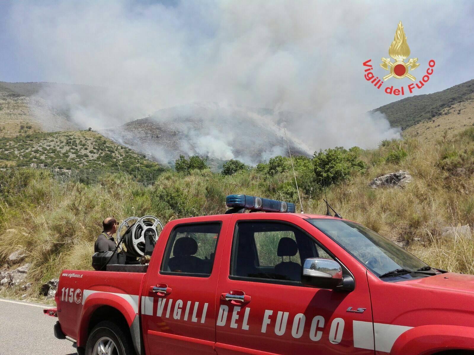 Incendi: fiamme nel palermitano, vigili del fuoco e forestali in azione (2)